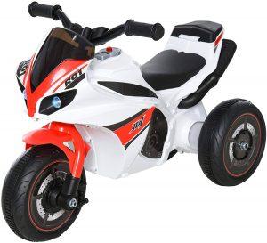 moto rouge et blanche à 3 roues