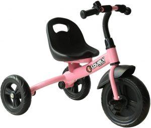 tricycle rose avec guidon réglable et siège noir