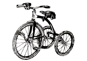 Tricycle noir dessiné
