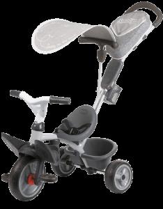tricycle smoby gris avec accessoires
