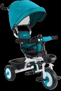 tricycle bleu et noir équipé d'une benne arrière et d'un porte gobelet