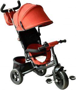 tricycle évolutif avec toit rouge