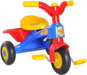 jouet tricycle bleu jaune et rouge