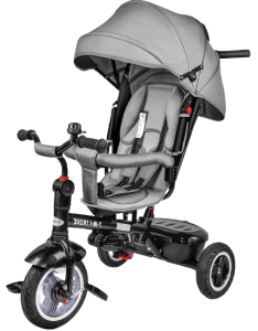 tricycle gris avec roues noires
