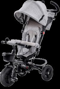 tricycle bébé gris avec arceau et capote grise