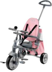 tricycle gris avec sacoche rose
