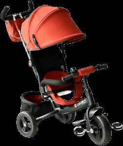 tricycle rouge avec accessoireq noirs