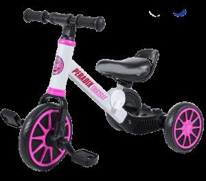 tricycle avec cadre blanc et des roues roses