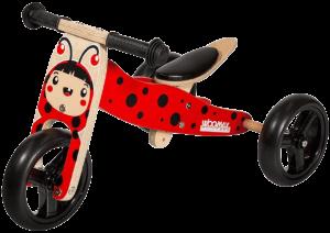 tricycle en bois rouge et marron clair avec des roues noires