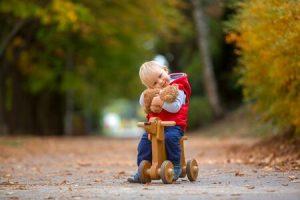 petit garçon qui tient son nounours est assis sur un tricycle en bois