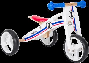 tricycle bébé en bois aux couleurs d ela france bleu blanc et rouge