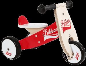 tricycle bébé en bois rouge et marron clair avec des roues noires et blanches bikloon