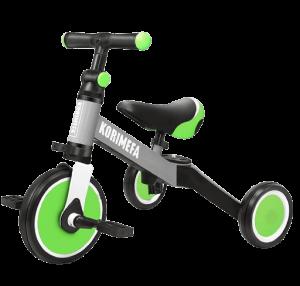 tricycle pour enfant de couleur verte grise et noire