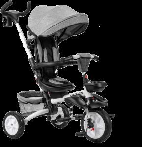 triycle bebe gris avec barre d esécurité et benne arrière