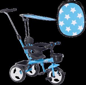 tricycle bleu et noir avec auvent qui a des étoiles blanches
