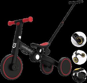 tricycle noir et rouge avec une canne de poussée