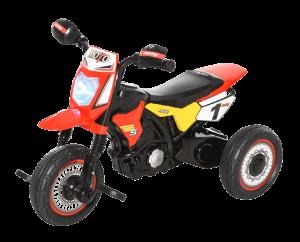tricycle moto rouge et noir avec phare et guidon