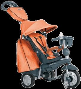 tricycle bébé orange et gris en plastique