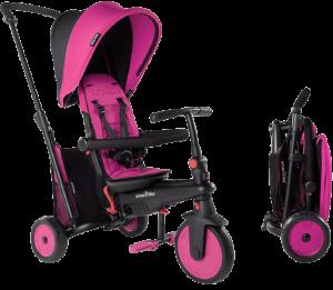 Tricycle pliable rose avec une structure du cadre noire