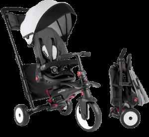 tricycle multifonctionnel et pliable de couleur grise