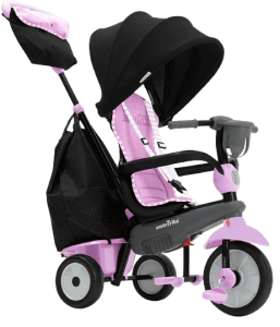tricycle bébé rose avec une capote noire