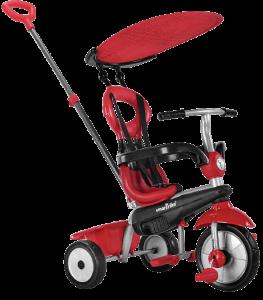 tricycle rouge et noir avec un auvent qui protège