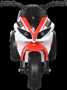 avant du jouet moto rouge, blanc et noir