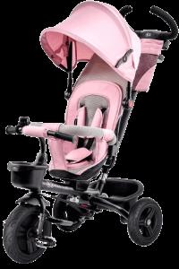 tricycle évolutif rose avec roues noires auvent