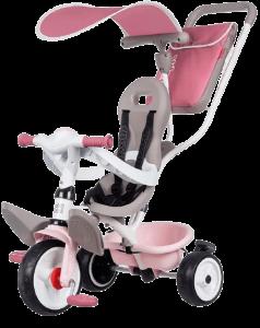 tricycle rose avec siège gris et guidon blanc