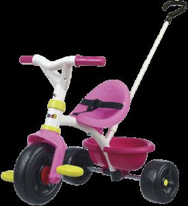 petit tricycle en plastique rose blanc et jaune