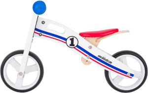 vélo en bois bleu blanc et rouge