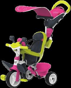 tricycle rose avec siège vert clair