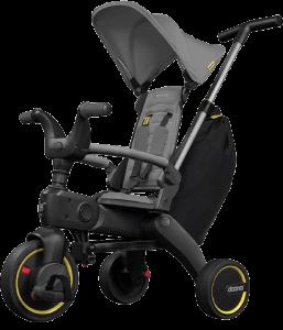 tricycle gris avec canne de poussée