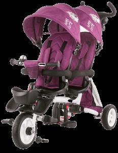 tricycle pour jumeaux de couleur violette
