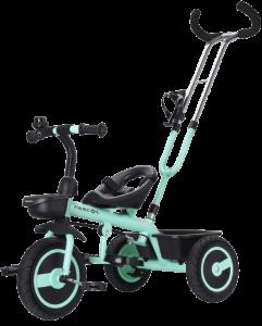 tricycle de couleur bleu claire est pliableet ressmeble à un vélo