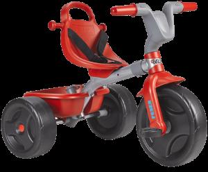 tricycle rouge et gris avec des roues noires. C'est un beau jouet bébé!