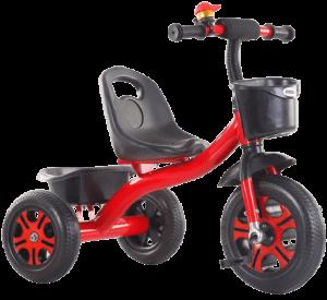 tricycle rouge long avec siège et roues noires