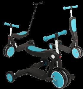 tricycle évolutif en trotinetteet draisienne. Il est de couleur noire et bleue