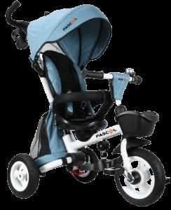 tricycle Fascol pliable de couleurs blanches noires et bleues