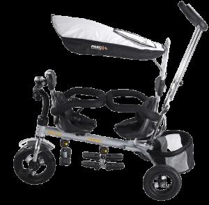 tricycle pour jumeaux de couleur grise
