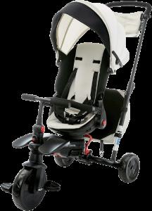 tricycle bébé blanc et noir avec une fonction pliable