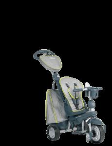 tricycle gris avec un grand sac à l'arrière